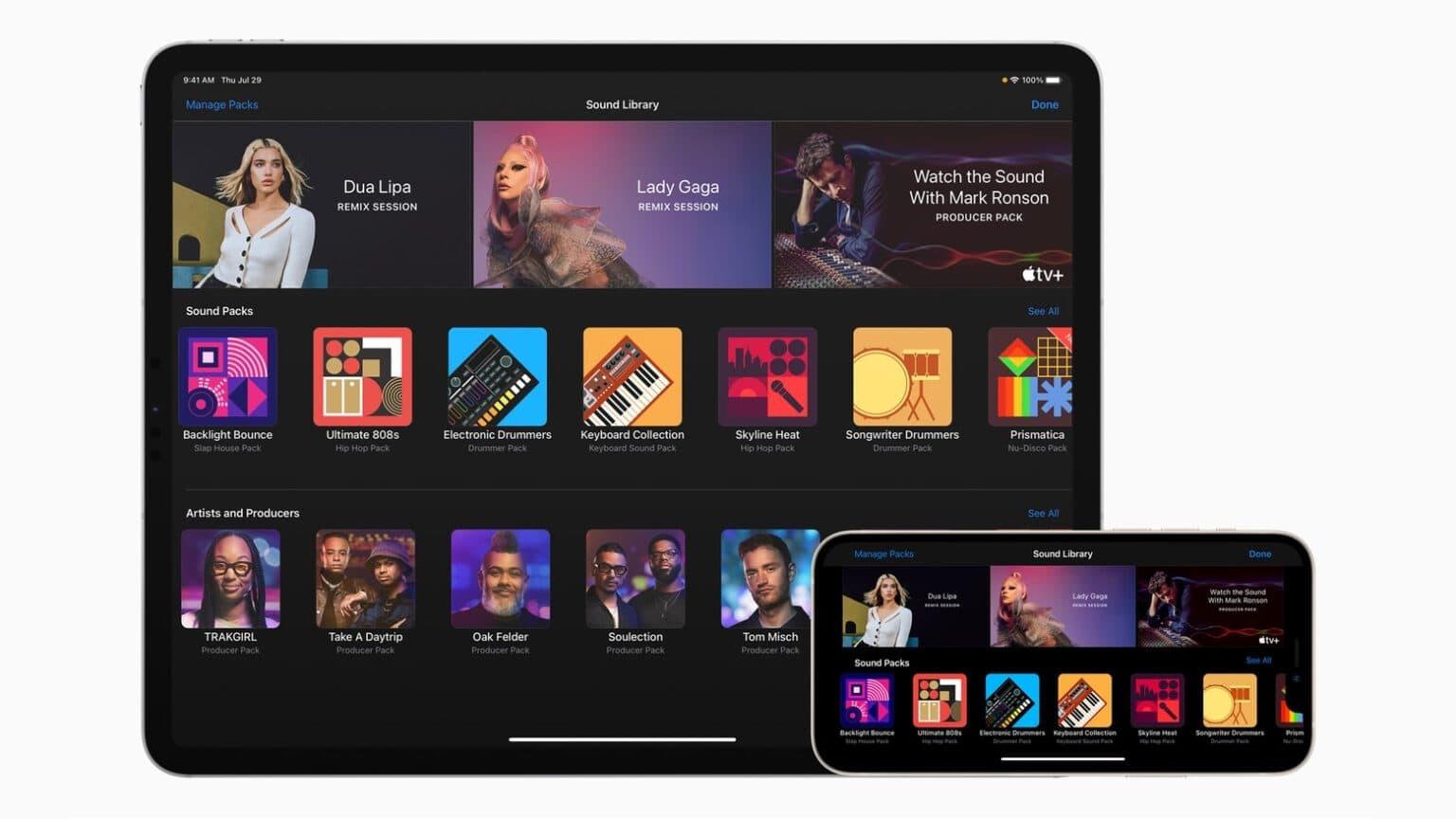 GarageBand de Apple enseña remezclas musicales con Lady Gaga, canciones de Dua Lipa